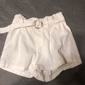 White LA Hearts paper bag shorts